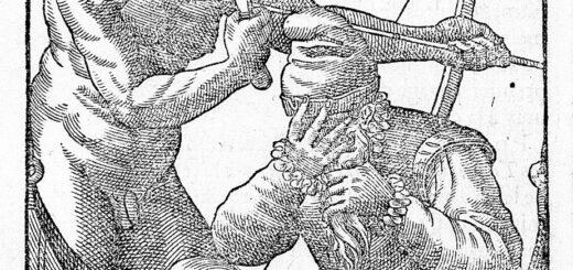 Jean de Léry, Histoire d'un voyage fait en la terre du Brésil, Genève, 1580, p. 284 : couple d'Indiens du Brésil offrant l'hospitalité à un vieillard, Moussacat